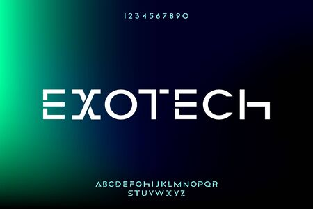 Exotech, an abstract technology scifi alphabet font. digital space typography vector illustration design