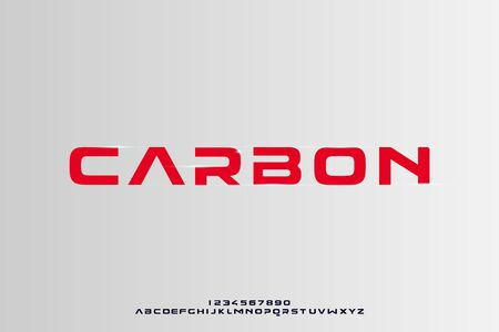Carbon, a bold geometric modern sporty typography alphabet font. vector illustration design