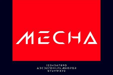 Mecha, an Abstract modern minimalist alphabet fonts. technology futuristic industrial creative Typography. vector illustration Illustration