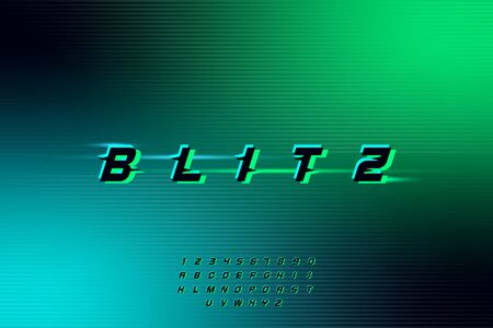 blitz, an Abstract technology futuristic alphabet font. digital space typography vector illustration design