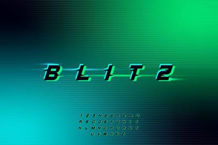 blitz, an Abstract technology futuristic alphabet font. digital space typography vector illustration design