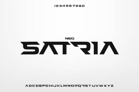 Satria, an abstract technology sporty theme alphabet font. digital space typography vector illustration design 스톡 콘텐츠 - 139599777