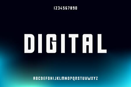 digital, an Abstract technology futuristic alphabet font. modern minimalist space typography vector illustration design