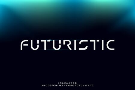 futuristic, an Abstract technology alphabet font. digital space typography vector illustration design