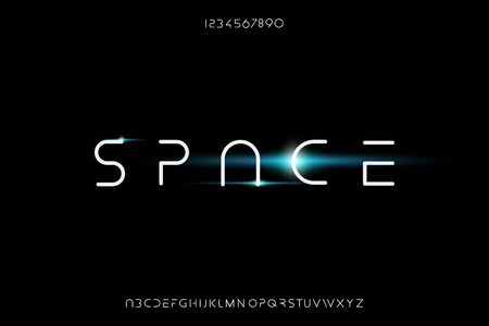 space, an Abstract technology futuristic alphabet font. digital modern minimalist typography vector illustration design