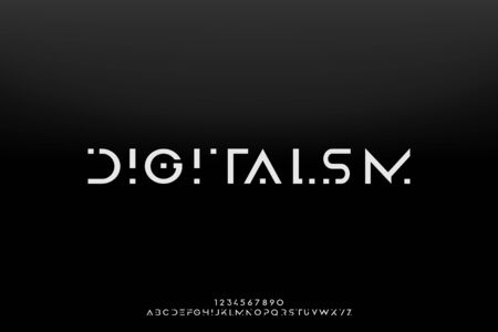 Digitalism, an Abstract technology science alphabet font. space typography vector illustration design
