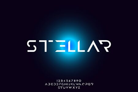 Stellar, an Abstract technology futuristic alphabet font. digital space typography vector illustration design 일러스트