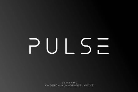 Pulse, an Abstract technology science alphabet font. digital space typography vector illustration design 일러스트