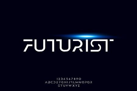 Futurist, an abstract technology science alphabet font. digital space typography vector illustration design
