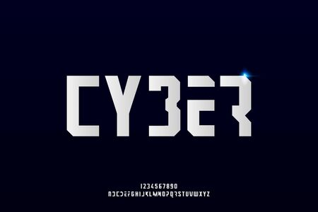 cyber, an Abstract technology futuristic alphabet font. digital space typography vector illustration design