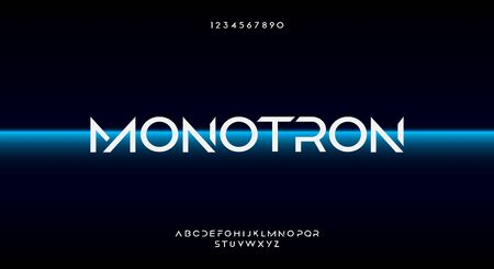 Monotron, an Abstract technology futuristic alphabet font. digital space typography vector illustration design