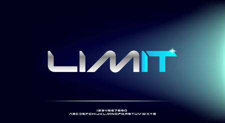 Limit, an Abstract technology futuristic alphabet font. digital space typography vector illustration design