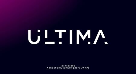 Ultima, an Abstract technology futuristic alphabet font. digital space typography vector illustration design 일러스트