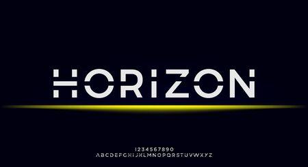 Horizon, an Abstract technology futuristic alphabet font. digital space typography vector illustration design