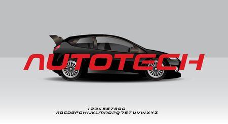 Autotech, a bold modern minimalist sporty typography alphabet font, on a car background vector illustration design