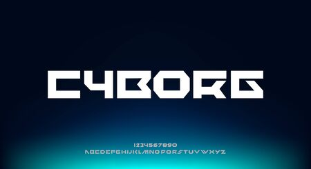 Cyborg, an abstract minimalist technology science alphabet font. digital space typography vector illustration design 일러스트