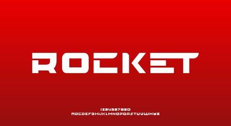 Rocket, a bold modern minimalist sporty science fiction typography alphabet font. vector illustration design 向量圖像