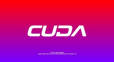 Cuda, an abstract sporty technology alphabet font. digital space typography vector illustration design