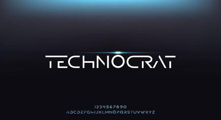 Technocrat, an abstract elegant technology futuristic alphabet font. digital space typography vector illustration design