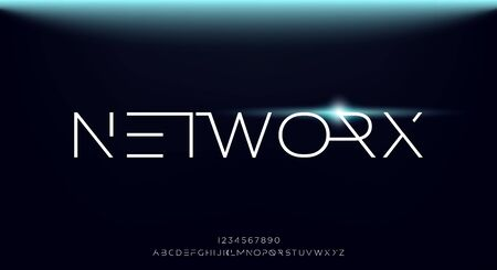 Networx, an Abstract technology science alphabet font. digital space typography vector illustration design
