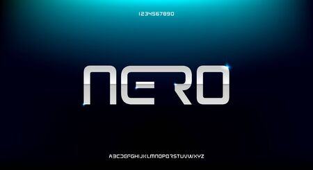 Nero, an abstract sporty technology alphabet font. digital space typography vector illustration design