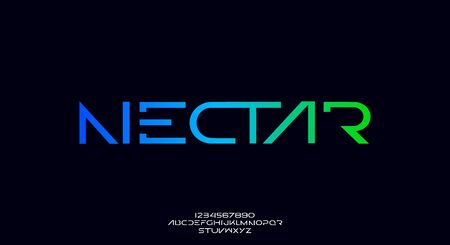 Nectar, an abstract technology futuristic alphabet font. digital space typography vector illustration design