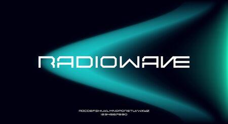 Radiowave, an abstract technology futuristic alphabet font. digital space typography vector illustration design 일러스트