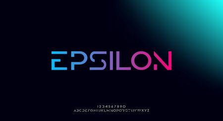 Epsilon, an abstract technology futuristic alphabet font. digital space typography vector illustration design