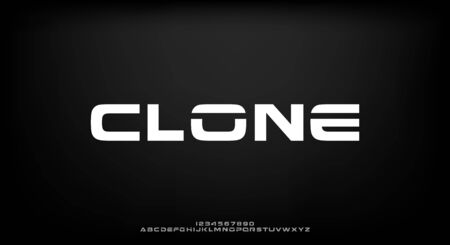 Clone, an abstract technology science alphabet font. digital space typography vector illustration design