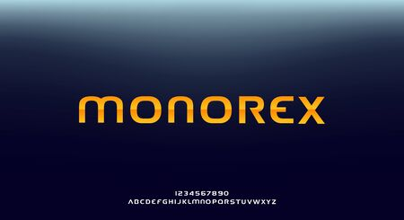 Monorex, an abstract technology science alphabet font. digital space typography vector illustration design