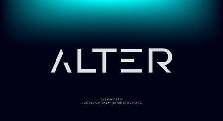 Alter, an abstract technology futuristic sci fi alphabet font. digital space typography vector illustration design