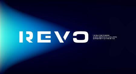 Revo, an abstract sporty alphabet font. digital space typography vector illustration design 일러스트