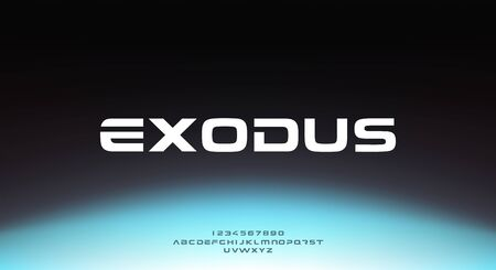 Exodus, an abstract sporty technology science alphabet font. digital space typography vector illustration design 일러스트