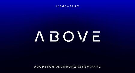 Above, an Abstract technology futuristic alphabet font.