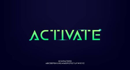 Activate, an abstract technology futuristic alphabet font.
