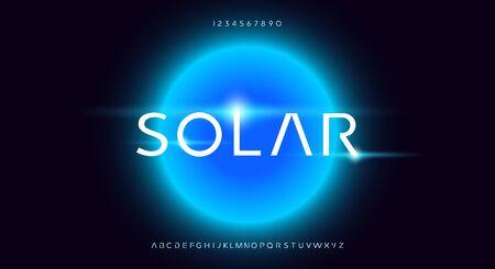 Solar, an abstract technology futuristic alphabet font.