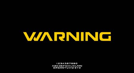 warning, an abstract technology futuristic alphabet font. digital space typography vector illustration design