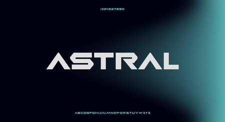 astral, an abstract technology futuristic alphabet font. digital space typography vector illustration design