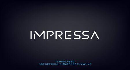 Impressa, an Abstract technology science alphabet font. modern minimalist typography vector illustration design