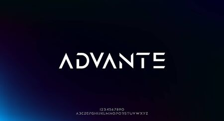 Advante, an Abstract technology science alphabet font. digital space typography vector illustration design 일러스트