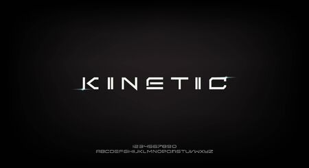 Kinetic, a space theme abstract technology science alphabet font. digital space typography vector illustration design 일러스트