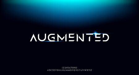 Augmented, an Abstract technology science alphabet font. digital space typography vector illustration design 일러스트