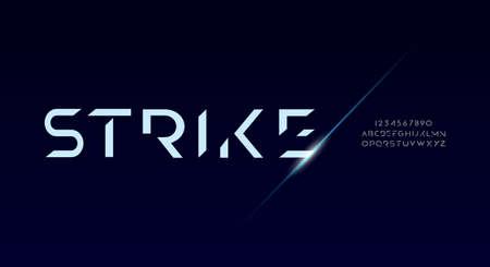 Strike, Abstract technology futuristic alphabet font. digital space typography vector illustration design 일러스트