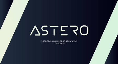Astero, Abstract technology futuristic alphabet font. digital space typography vector illustration design 일러스트