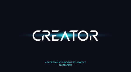 Creator, an Abstract technology futuristic alphabet font. digital space typography vector illustration design