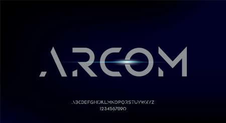 Arcom, a modern minimalist geometric font typeface design