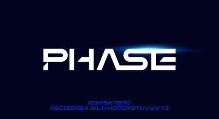 Phase, a geometric futuristic scifi alphabet font typeface design. digital space typography vector illustration