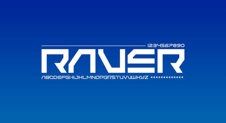 Raver, an Abstract technology futuristic alphabet font. digital space typography vector illustration design