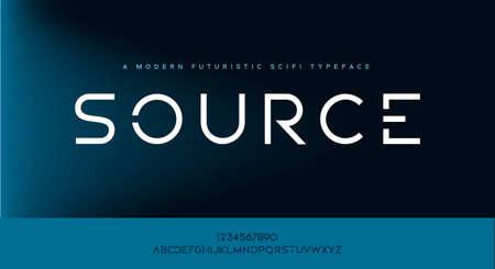 Source, an modern minimalist scifi tech futuristic alphabet font typeface. vector illustration