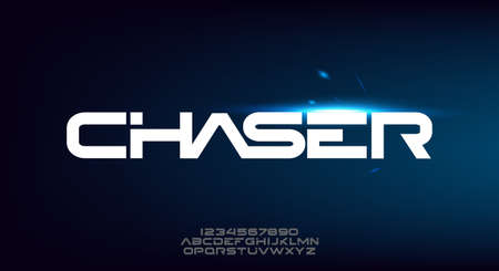 Chaser, an Abstract modern minimalist geometric futuristic alphabet font. digital space typography vector illustration design 일러스트
